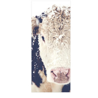 "Debbra Obertanec ""Snowy Cow"" Black White Luxe Rectangle Panel"