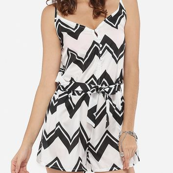 Streetstyle  Casual Loose Fitting Dacron Printed Zigzag Striped Rompers