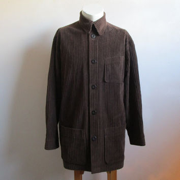 1980s Wale Cord Mens Jacket Vintage Bertrand Marois 80s Dark Brown Corduroy Car Coat Light Spring Jacket Large
