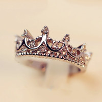 Ancient Palace Silver Crown Ring