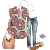 Set 456: Mint Circle Geo Blouse (includes top, tank & hoops)