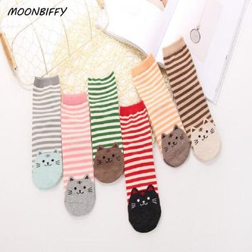 MOONBIFFY Newly Design Cute Cartoon Cat Socks Striped Pattern Women Cotton Sock Winter Aug10 Drop Shipping Womail