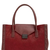 Loeffler Randall 'Work' Genuine Calf Hair Tote - Burgundy