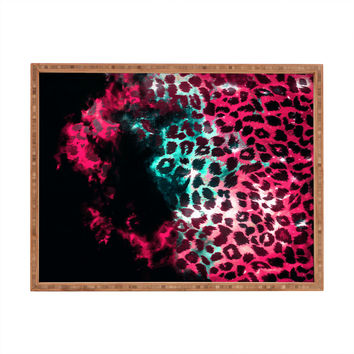 Caleb Troy Leopard Storm Pink Rectangular Tray