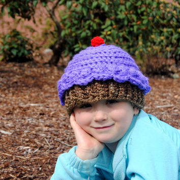 Crochet Cupcake Hat, Purple Ice Cream Cone Crochet Hat, Newborn Photo Prop, Toddler Girls Hat, Teen, Infant Girl Hat, Baby Girl Birthday Hat