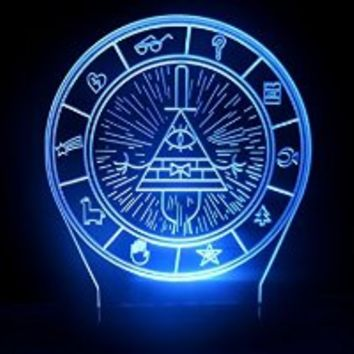 Gravity Falls Bill Cipher Wheel Secrets Map LED Night Light Desk Lamp