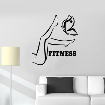 Vinyl Wall Decal Fitness Girl Woman Legs Gym Motivation Stickers Mural Unique Gift (ig3363)