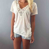 Fashion Lace Crochet T Shirt Women New 2015 Short Sleeve V neck Female Tops T shirt Plus Size Loose Knit T shirts For Women