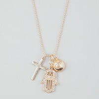 Full Tilt Cross/Hamsa/Eye Charm Necklace Gold One Size For Women 24591762101