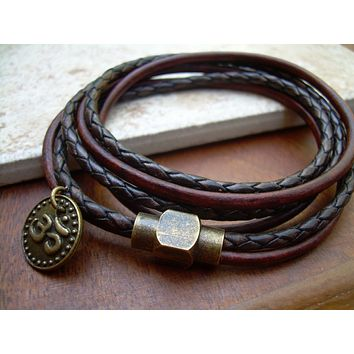 Om Charm Triple Wrap Leather Bracelet with an Antique Brass Magnetic Clasp,Leather Bracelet, Mens Bracelet,Womens Bracelet,Om, Namaste,Yoga