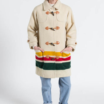 Vintage 90s Cream Wool Hudson Bay Blanket Toggle Coat | S