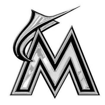 LMFONC. Miami Marlins Silver Chrome Color Raised Auto Car Emblem Decal Baseball