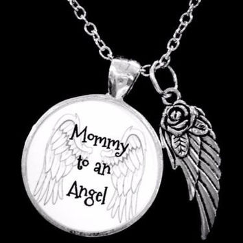 Mommy To An Angel Wing In Memory Remembrance Sympathy Gift Necklace