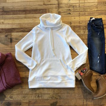 Winter Weather Cowl Neck Tunic in Burgundy and White