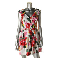 Trixxi Womens Juniors Floral Print V-Neck Casual Dress