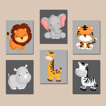 JUNGLE Animal Wall Art, Baby Boy Animal Nursery Artwork, Safari Animals, Boy Bedroom, Canvas or Prints, Zoo Theme, Set of 6, Playroom Decor