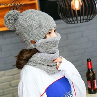 BINGYUANHAOXUAN Winter Scarf And Hats Sets For Women Thick Warm Knitted Beanies For Girls Ball Fur Thick Skullies Female Beanie