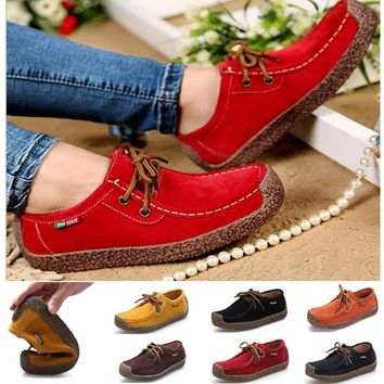 6 Colors Women Genuine Leather Shoes Casual Flats Woman Hand-sewn Suede Loafer (Size US5-10.5/EU 35-42 )