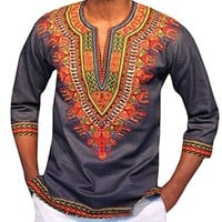 Dellytop Men's African Dashiki Autumn Fashion Print Sleeve T Shirt