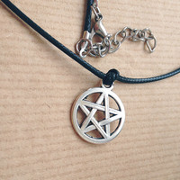 Silver Pentagram 90's Black Cord Necklace grunge wicca pagan pastel goth star lithiumm nirvana devil halloween fancy dress witch druid dye