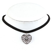 Black Leather Natural Choker Necklace for Women jewelry heart Pendants with crystal Boho Gothic Jewelry Gift