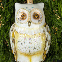 Jay Strongwater Owl Christmas Ornament