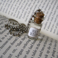 Holy Water 1ml Glass Bottle Necklace - Cork Glass Vial Pendant - Cute Charm