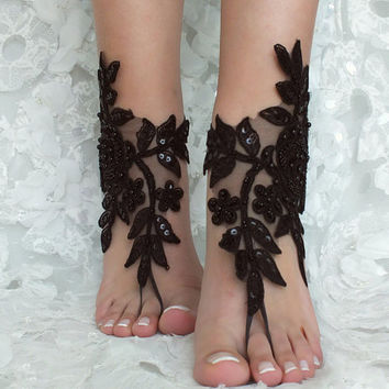 Black ivory french lace gothic barefoot sandals wedding prom party steampunk burlesque vampire bangle beach anklets bridal Shoes footles