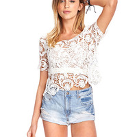 Lace Cut Out Short Sleeve Top