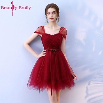 Beauty-Emily Cheap Short Bridesmaid Dresses 2017 Vestidos de madrinha de casamento Sleeveless Knee-Length Prom Dresses