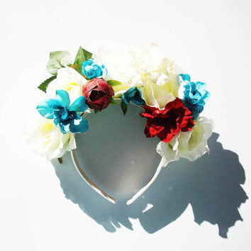 The Enchanted Autumn Forest Statement Floral Headpiece. Floral Crown. Floral Headband. Lana del Rey. Spring Headpiece. Flowers