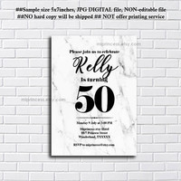 Marble Birthday Invitation for any age, 30th 40th 50th 60th 70th 80th 90th birthday invitation. modern marble design - card 1188