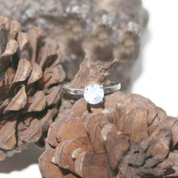 Moonstone Ring, Engagement Ring, Blue Moonstone Ring, Sterling Silver Ring, Anniversary Ring