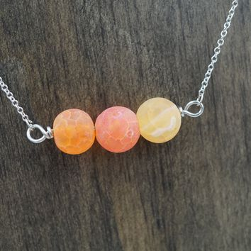 Orange Agate Aromatherapy Necklace Essential Oil Diffuser Necklace