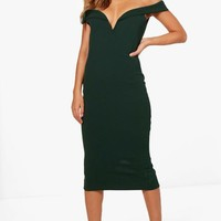 Jemima Off the Shoulder Detail Midi Dress | Boohoo