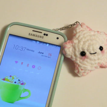 Two Color Crochet Star Charm Made-to-Order w/ keychain or dust plug or strap for iPhone, Samsung, Nintendo or iPod, Kawaii