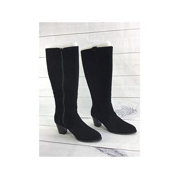 Vionic Lanie Black Suede Tall Shaft Boots, Size 9M