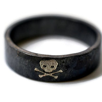 Black Skull Ring, Skull and Crossbones Ring, Pirate Ring, Oxidized Silver Ring, Engraved Jewelry
