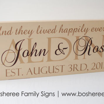 Personalized Wedding Established Sign Painted Custom Sign Plaque with quote - Perfect Christmas Gift