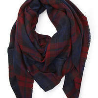 FOREVER 21 Plaid Print Scarf Burgundy/Navy One