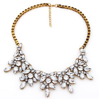 Floral Rhinestone Cluster Collar Necklace