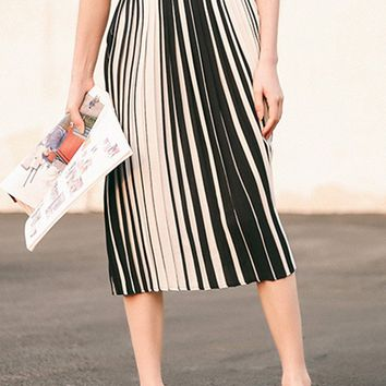 Streetstyle  Casual Black White Elastic Waist Pleated Chiffon Midi Skirt