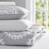 Medallion Florette Value Comforter Set, Light Grey