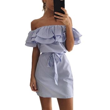 2018 New Summer Dresses Fashion Women Cute Casual Sexy Slash Neck Off Shoulder Ruffles Stripe Cotton Linen Mini Dress Vestidos
