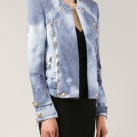 Balmain Bleach Effect Biker Jacket - - Farfetch.com