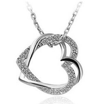 2 Heart Crystal Silver Necklace