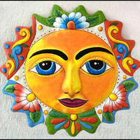 "Decorative Sun Painted Metal Wall Hanging - Outdoor Garden Art - Green & Yellow - 24"" x 24"""