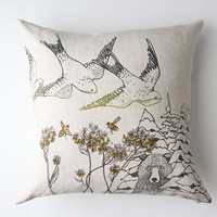 Linen Pillow Cover - Birds & Bees