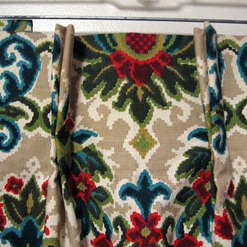 Mid Century Pinch Pleat Drapes vintage 50s Regency Floral Beige Turquoise Red Olive Green 1 Pair