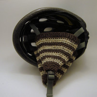 Wool  Striped Bicycle Helmet Ear Warmers / Ear Muffs, Brown and Oatmeal